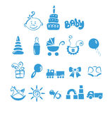 Set of icons - baby boy. Vector illustration - a set of icons on the theme of baby boy stock illustration