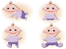 Set icons with baby boys. Royalty Free Stock Images