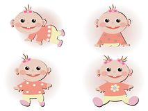 Set icons with baby girls Royalty Free Stock Images