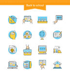 Set of Icons Back to School Flat Style Royalty Free Stock Image