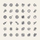 Set of 36 Icons with Bacteria and Germs Royalty Free Stock Images