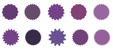 Set of icons badges starburst, sunburst, label, sticker. 10 different shades of purple, lilac, violet. Design elements. Vector illustration Flat style Stock Photos