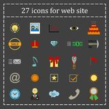 A set of 27 icons, badges, symbols, logos for the Web site. Stock Photos