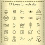 A set of 27 icons, badges, symbols, logos for the Web site. Stock Image