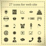 A set of 27 icons, badges, symbols, logos for the Web site. Royalty Free Stock Photography