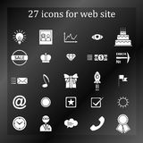 A set of 27 icons, badges, symbols, logos for the Web site. Royalty Free Stock Images