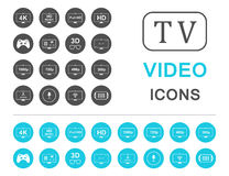 Set Icons and Badges TV and Video Stock Photos