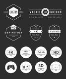 Set Icons and Badges TV and Video Royalty Free Stock Photography