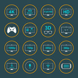 Set Icons and Badges TV and Video Royalty Free Stock Photo