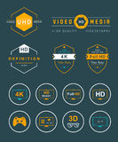 Set Icons and Badges TV and Video Stock Photo