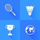 Set of icons for badminton. Flat style. Vector illustration Stock Images