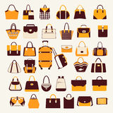 Set icons of  bags  and  handbags - Illustration Stock Photos