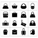 Set icons of bags. Isolated on white stock illustration