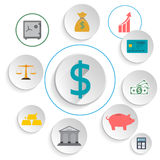 Set icons banking. Finance.  Vector illustration Royalty Free Stock Photo