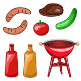 A set of icons of a barbecue. Vector illustration of grilling, s royalty free illustration