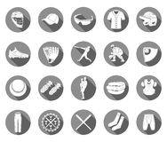 Set of icons of baseball in style flat design. Set of  icons of baseball on a white isolated background. Equipment, accessories, clothing and players - stock Stock Photo