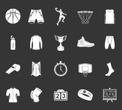 Set of icons basketball. Basketball icon set - stock . Large set of symbols, logos and icons of basketball. Sports equipment, protection, trackers, silhouettes Royalty Free Stock Photos
