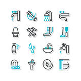 Set of icons - a bathroom equipment, repair Royalty Free Stock Image