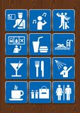 Set icons of bathroom, karaoke, disco, bar, restaurant, pool, shower, cafeteria, customs. Icons in blue color on wooden background. Vector image Royalty Free Stock Images