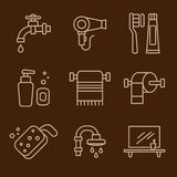 Set of Icons Bathroom Vector Royalty Free Stock Images