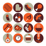 Set of icons with bbq silhouettes. Set of sixteen icons with bbq and grill silhouettes Stock Images