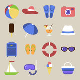 Set of icons. Beach theme. Flat travel objects. Umbrella, ball beach, wallet, cocktail, diving mask, tube, lifebuoy, shale, suitcase, camera, hat, boat, fins Stock Image