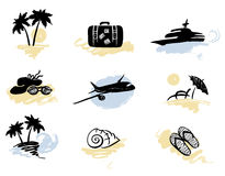 A set of icons - beach and traveling Royalty Free Stock Photos
