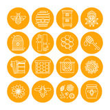 Set of icons of beekeeping, honey, apiary. Royalty Free Stock Photo