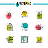 Set of icons of beekeeping, honey, apiary. Stock Image