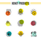 Set of icons of beekeeping, honey, apiary. Stock Photography