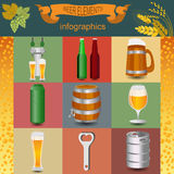 Set icons beer equipment, for creating your own infographics. Stock Photos