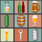 Set icons beer equipment, for creating your own infographics. Royalty Free Stock Photos