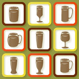 Set of 9 icons of beer glasses Stock Photos