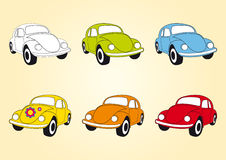 Set of icons Beetle cars. Vector illustration of multicolored beetle car. Cute little car in different variants. Old hippie car Royalty Free Stock Photo