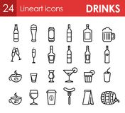 Set of Icons with Beverage and Drinks for Bar. Menu or design of site. 24 Vector Symbols Royalty Free Stock Images