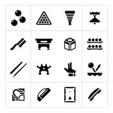 Set icons of billiards, snooker and pool Stock Photos