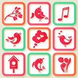 Set of 9 icons with birds and flowers Royalty Free Stock Images