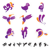 Set of icons with birds silhouettes Stock Image