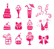 Set of icons - birthday. Vector illustration - a set of icons on the theme birthday stock illustration