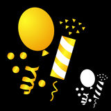Set icons for the birthday celebration. Balloon, party poppers, confetti on black background royalty free illustration