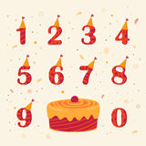 Set of icons birthday celebration Royalty Free Stock Images