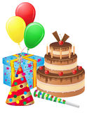 Set icons for birthday vector illustration Stock Images
