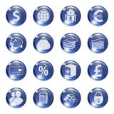 Set of icons of blue color on a subject bank. Stock Photos