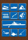 Set icons of boat, harbor, swim, windsurfing, rowing boat, dive, fish, fishing rod. Icons in blue color on wooden background. Vector image Royalty Free Stock Image