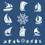 Set of icons with boats silhouettes Stock Image
