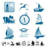 Set of icons with boats silhouettes Royalty Free Stock Photography