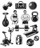 Set icons for bodybuilding isolated on white. Royalty Free Stock Image