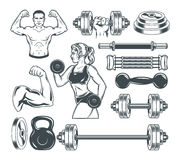 Set icons for bodybuilding isolated on white. Stock Image