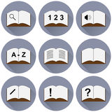 Set of icons with a book Royalty Free Stock Photography