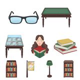 A set of icons with books. Seth about the library, reading, bookstore. Library and bookstore icon in set collection on Stock Photo